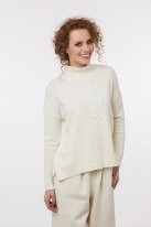 Cable knit pullover with cashmere  white