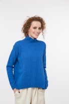 Cable knit pullover with cashmere blue