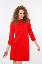High neck knitted dress red