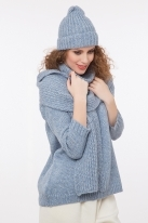 Ribbed hat with lurex blue