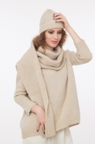 Ribbed scarf with lurex beige