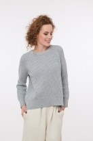 Lady pullover with open back grey