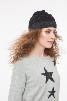 Fine knitted hat with strass black