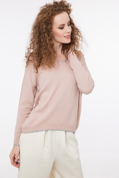 Fine knitted pullover with contrast edges in lurex