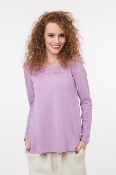 Fine knit round neck jumper lilac