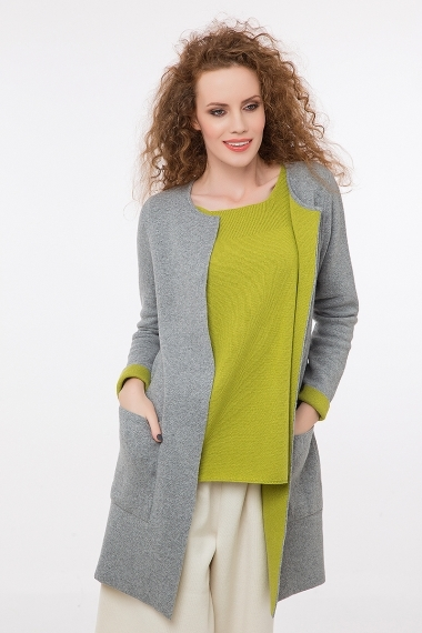 Long cardigan two colors