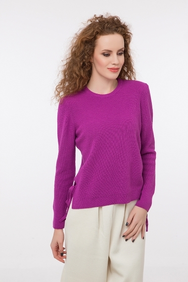 Ribbed jumper with sides slits