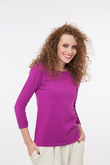 Elegant top with cashmere and stones