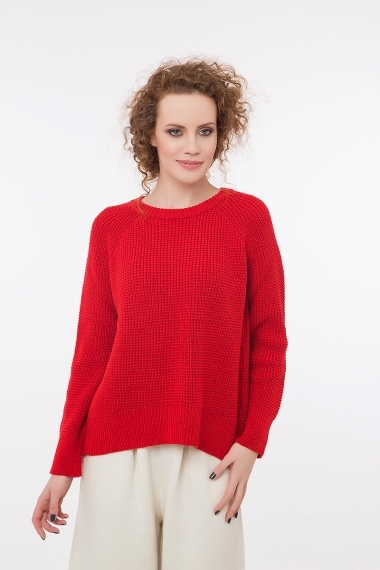 Lady pullover with open back red