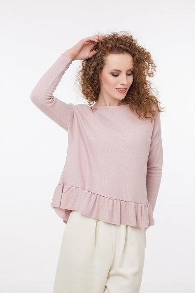 Fine knitted jumper with ruffles rose