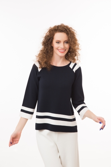 Navy top with white stripes