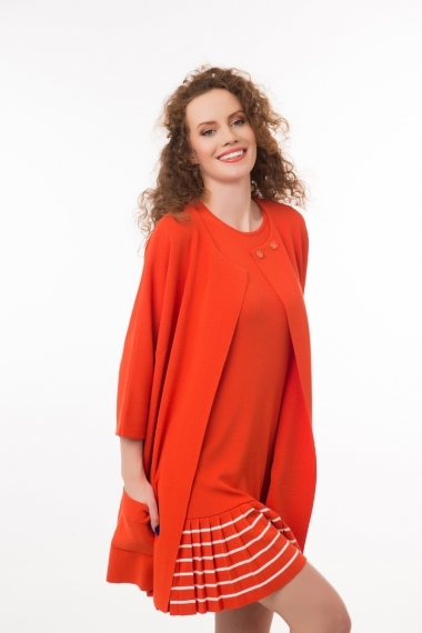 Long viscose cardigan with 3/4 sleeves orange