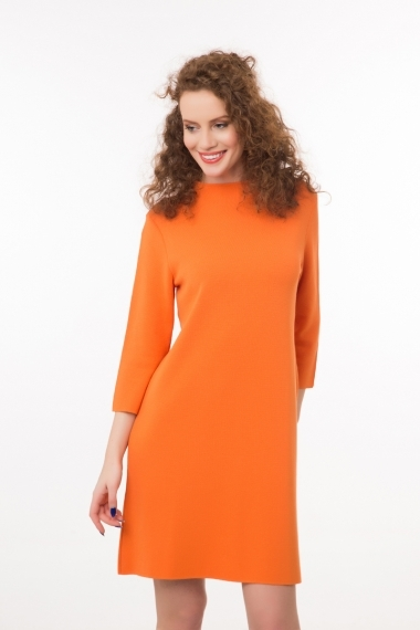 High neck knitted dress orange