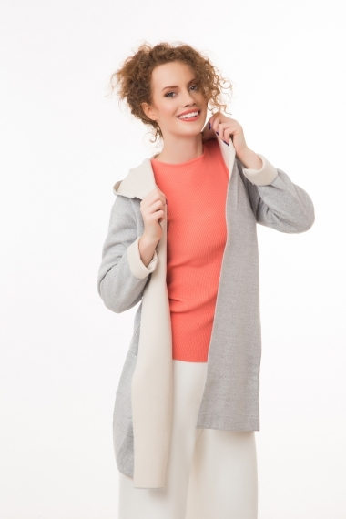 Long cardigan two colors  with hood