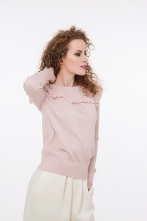 Fine merino wool pullover with ruffles