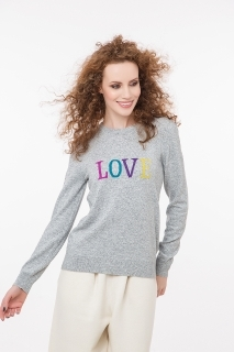 Fine knitted jumper with cashmere LOVE