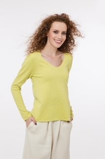 Fine knitted jumper with cashmere V neck different colors