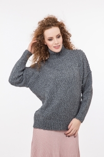 Very soft oversized pullover with high neck
