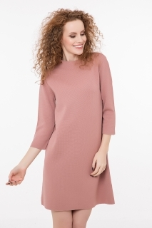 High neck knitted dress pink