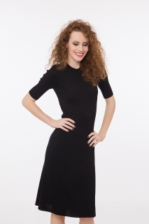 Fine merino wool dress short sleeves