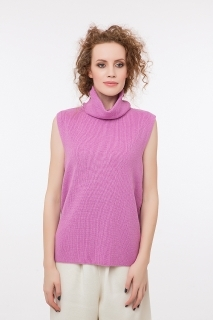 High neck sleeveless  jumper