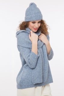 Soft pullover with lurex blue
