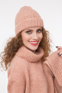 Ribbed hat with lurex rose