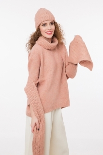 Ribbed scarf with lurex rose