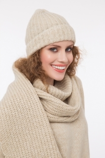 Ribbed hat with lurex beige