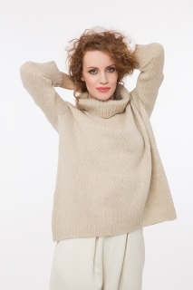 Soft pullover with lurex beige