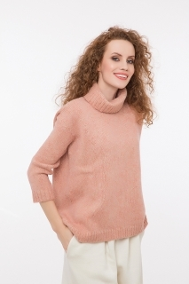 Soft pullover with lurex rose