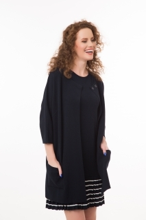 Long viscose cardigan with 3/4 sleeves navy